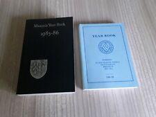 2 Masonic Year Books 1985-86 & 1988-89 grand lodge, Sussex Masonic temple vgc