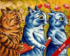 THREE CATS SINGING CHOIR LOUIS WAIN PAINTING CUTE FUN CAT ART REAL CANVAS PRINT