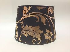 "10"" Black Gold Empire Flowered Fabric Lampshade Table Lamp Light Shade Handmade"