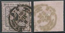 1851 GERMANIA ANTICHI STATI WURTTEMBERG USATO CIFRA 9 K - G41