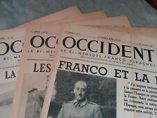 Lot 11n° journal  OCCIDENT 1937/ Franco-Espagnol/1ere annee n°1 a 5/14 a 18/n°32