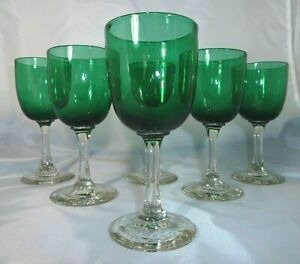 Set of 6 Victorian 19th Century Bristol Green Wine Glasses c.1870