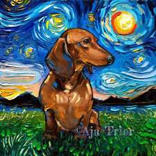 Dachshund Brown Weiner Dog Doxie Art Print Starry Night van Gogh Decor by Aja