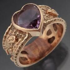 Wide Heart Cut AMETHYST 9K SOLID ROSE GOLD EMBOSSED PATTERNED RING Sz P1/2