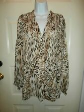 NWT NEW SUNNY LEIGH TOP XLARGE BUTTON DOWN SHIRT ANIMAL PRINT