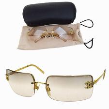 Auth CHANEL CC Logos Sunglasses Eye Wear Metal Plastic Rhinestone Gold 08F590