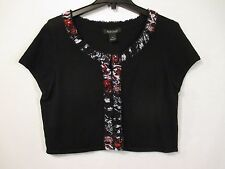 White House Black Market Black w/ Multi-Color Smocked Trim Cropped Blouse - Sz L