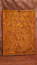 "Antique 18C Asian Wood Hand Carved Wall Plaque""Two Goddies Witn Floral Ornament"""