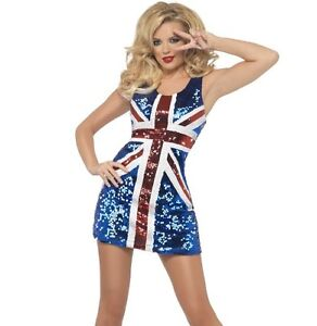 Ladies Sequin Union Jack Fancy Dress Costume Sequinned Spice dress by Smiffys