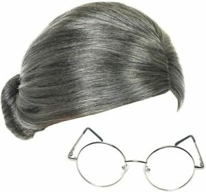 Grass Village Flat Granny Wig and Round Glasses Mrs Claus Fancy Dress Accessory
