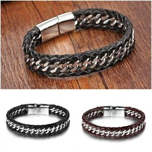 Black Brown Braided Leather Stainless Steel Bracelet Magnet Chain Bangle 22cm