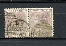 Great Britain #27 Pair (GR590) Queen Victoria 6p lilac, Used, F, CV$200.00