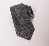 Christian Dior Silk Paisley Gray Blue Pattern Neck Tie Mens