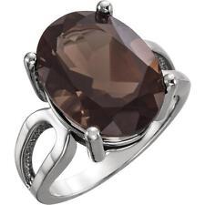 Platinum Oval Smoky Quartz Solitaire Ring