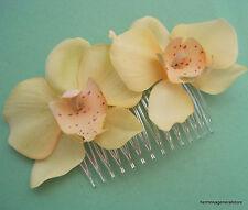 Double Lemon Yellow Orchid Silk Flowers Hair Comb,Luau, Wedding,Prom,Dance