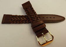 New Kreisler Brown Woven Braided Leather 18mm Watch Band $16.88 Gold Tone Buckle
