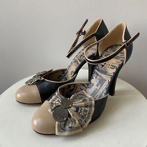 MOSCHINO Pumps Gr. D 36 Beige Schwarz Damen Schuhe High Heels Shoes