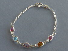 """7""""- STERLING SILVER  BRACELET-FIGARO + OVAL MULTICOLOR CRYSTALS-ITALY 925"""