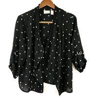 Chicos Womens Black White Polka Dot Rayon Open Front Cardigan Size 1 Medium