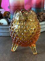 Vintage Fenton Art Glass Hobnail Amber Footed Vase, Egg shaped