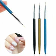 3 X Nail Art Brush Liner Pens Metal Handle For UV Gel Polish Painting Drawing UK