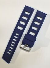 22mm BLUE Diver's Watch Rubber Silicone ISO Strap Fits Omega, Seiko NEW