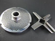 """#52 1/8"""" 3.0 mm holes STAINLESS Meat Grinder plate & knife  Hobart Biro Berkel"""