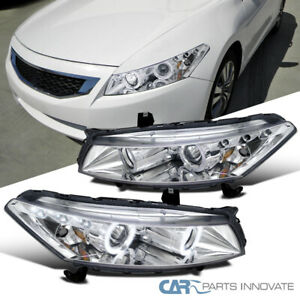 For 08-12 Honda Accord 2Dr Coupe LED Halo Projector Headlights Lamps Left+Right