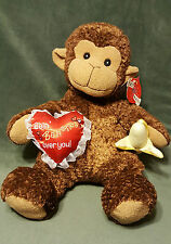"NWT FIRST & MAIN 17"" SWEETIE PETEY MONKEY W/ HEART BANANA PLUSH STUFFED ANIMAL"