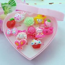 12pcs Enfants Candy Color Resin Cartoon Anneaux Belle Bague Toys