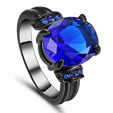 Size 7 Vintage Blue Sapphire Wedding Band Ring Women's 18K Black Gold Filled