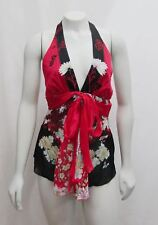 New Roberto Cavalli 38 2 Sm Kimono Floral Print Halter Top Silk Belted Red Black