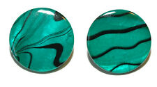 """3/4"""" (20mm) ROUND GREEN & BLACK SHELL CUFF LINKS (194a)"""