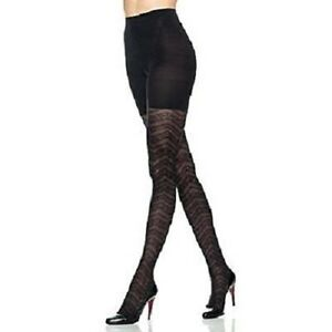 Spanx Red Hot  Tummy Control Tights Textured Lace Zig Zag Size D- 4/Blk 2454