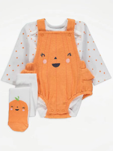 Baby Girls Halloween Orange Pumpkin Romper Bodysuit Tights Outfit George Costume