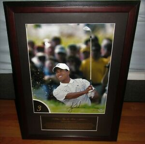 Tiger Woods Autographed Framed 12X16 Photo TOP 10 SHOTS UPPER DECK COA /100 UDA