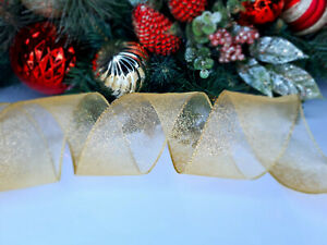 CHRISTMAS WIRED EDGE RIBBON 2.5 IN WIDE GOLD TREE WRAP GIFT WRAPPING BULK