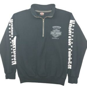 Harley Davidson Men's Small Black 1/4 Zip Pullover Sweater Polo Motorcycles
