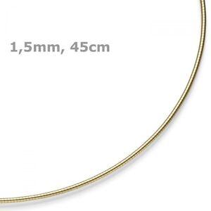 1,5mm Collar Omega-Maduro Redondo Cadena Collar Cadena 750 Oro Amarillo 45cm