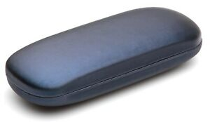 NEW Clam Shell Hard Eyeglasses Glasses Case Blue w/ Microfiber Cleaning Cloth