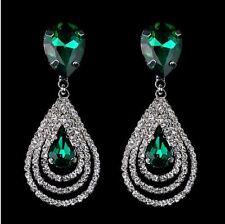 VERDE Smeraldo sfaccettato GOCCIA Cut-Out Diamante Strass Cristallo Orecchini