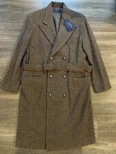 NWT Polo Ralph Lauren Lambswool Alpaca Belted Coat Brown Plaid Womens Sz 14 $998