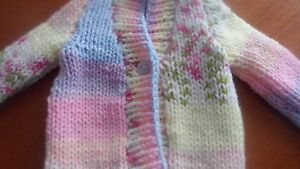 Hand knitted chunky multi cardigan 6-12 months new