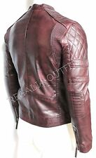 Mens Biker Vintage Distressed Cafe Racer Leather Jacket