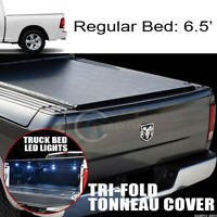 Tri-Fold Soft Tonneau Cover+16X LED Lights Fits 09-18 Dodge Ram Box 6.4 Ft Bed
