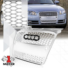 For 2005-2008 Audi A4/B7{HEX HONEYCOMB MESH}Matte Silver ABS Bumper Grille Grill