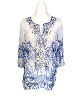Chicos Tunic Top Small Size 0 Sequin 3/4 Sleeve Womens Blouse Pullover Dressy