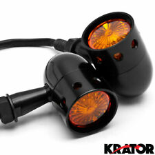 Motorcycle Cruiser Black Turn Signals Blinker Indicator Lights with Amber Lens