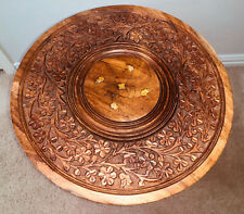 Vintage Handcrafted Solid Teak Wood Carved Inalyed Display Stand Table Pedestal