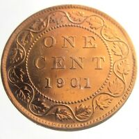 1901 Canada One 1 Cent Large Penny Copper Canadian Whizzed Victoria Coin P435